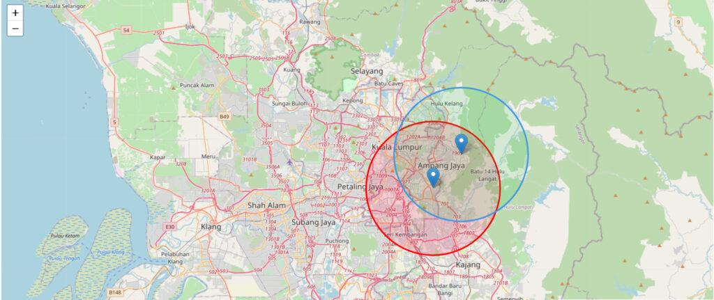 anda boleh melihat jarak destinasi anda di bawah radius 10km melalui laman sesawang 2kmfromhome